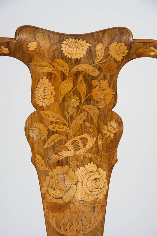 Fine Set of Four 18th Century Dutch Marquetry Side Chairs For Sale 5
