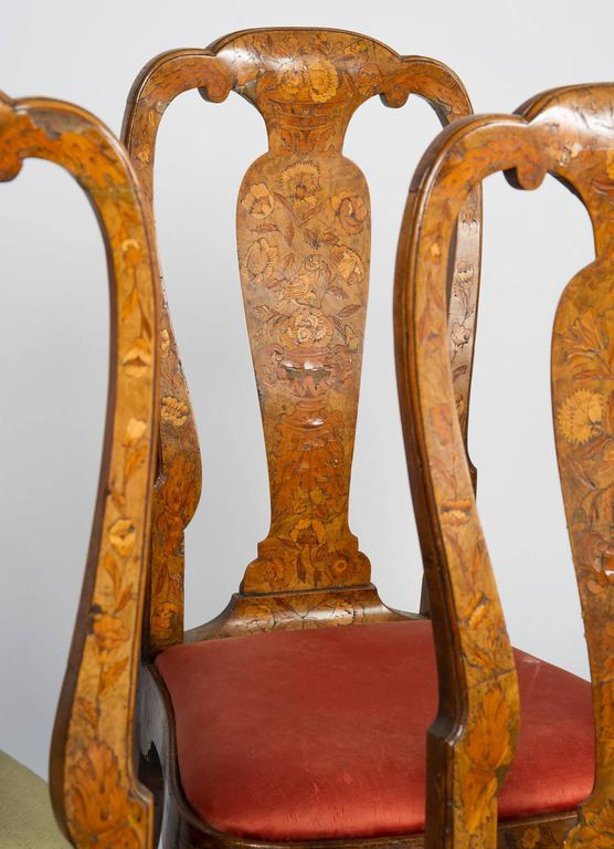 Set of Six 18th Century Dutch Marquetry Chairs In Good Condition For Sale In Brighton, Sussex
