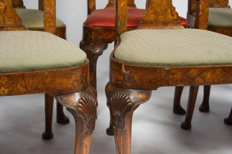 18th Century and Earlier Set of Six 18th Century Dutch Marquetry Chairs For Sale