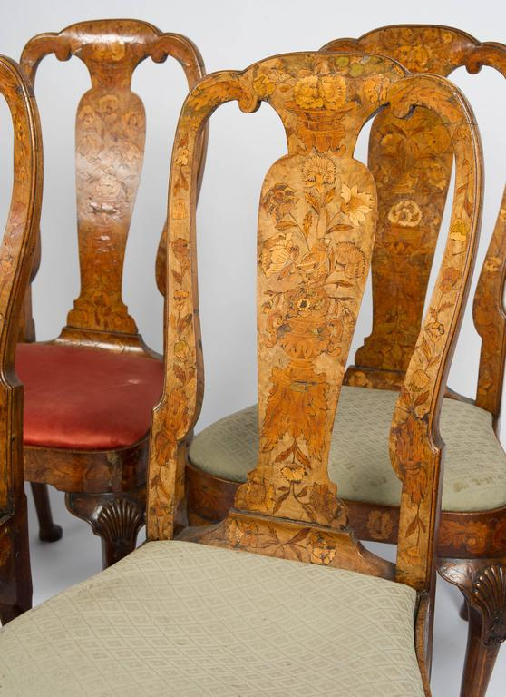 Walnut Set of Six 18th Century Dutch Marquetry Chairs For Sale