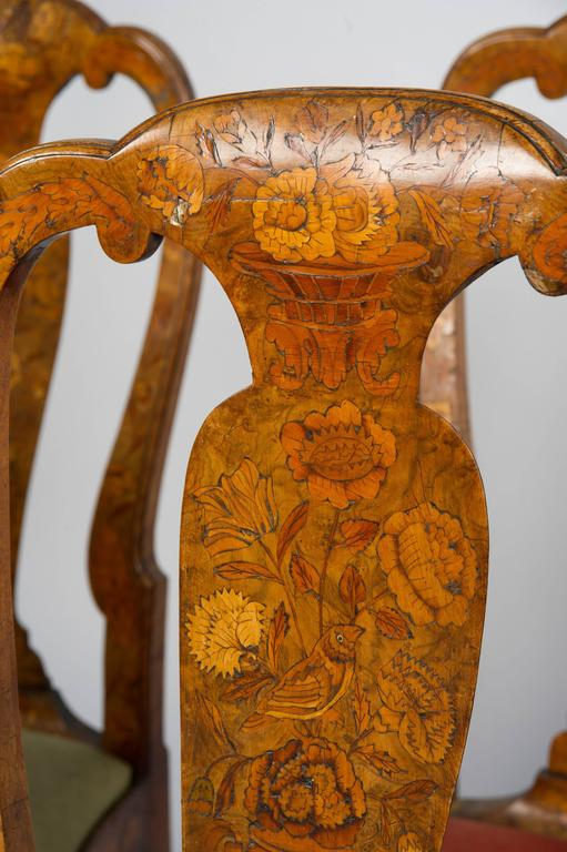 Set of Six 18th Century Dutch Marquetry Chairs For Sale 1