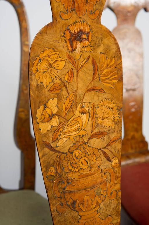 Set of Six 18th Century Dutch Marquetry Chairs For Sale 2