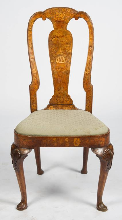Set of Six 18th Century Dutch Marquetry Chairs For Sale 3