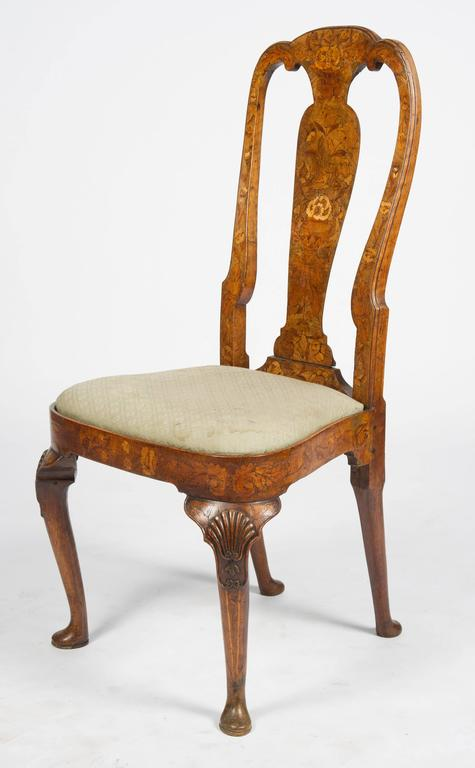 Set of Six 18th Century Dutch Marquetry Chairs For Sale 4