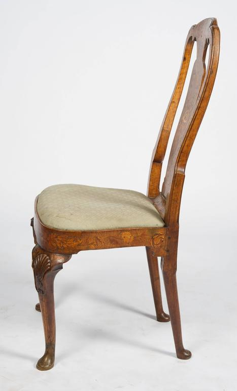 Set of Six 18th Century Dutch Marquetry Chairs For Sale 5