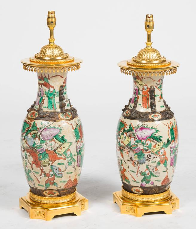 Gilt Pair of 19th Century Chinese Crackleware Vases or Lamps For Sale