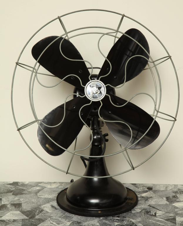 """Robbins & Myers 16"""" table fan, circa 1930 in original finish but restored professionally - fixed of oscillating - recommend oiling every 3 months of use."""