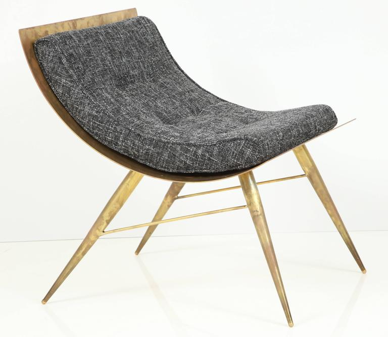 One of a Kind Sculptural Brass Lounge Chair with Italian Woven Wool Upholstery 4