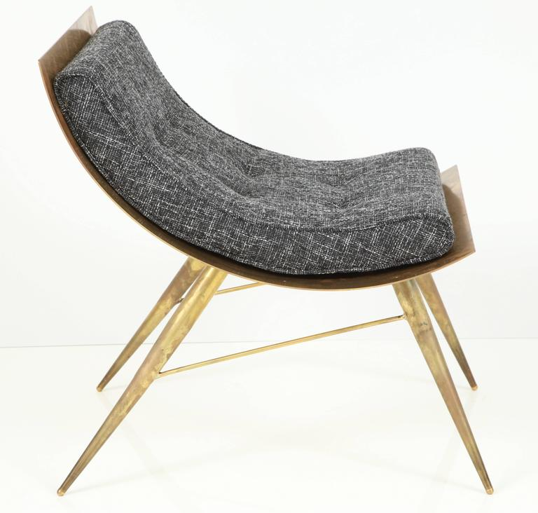 One of a Kind Sculptural Brass Lounge Chair with Italian Woven Wool Upholstery 5