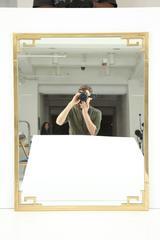 "Large Italian Mid Century Modern Greek Key Brass Wall Mirror, 42""H x 32.5""W"