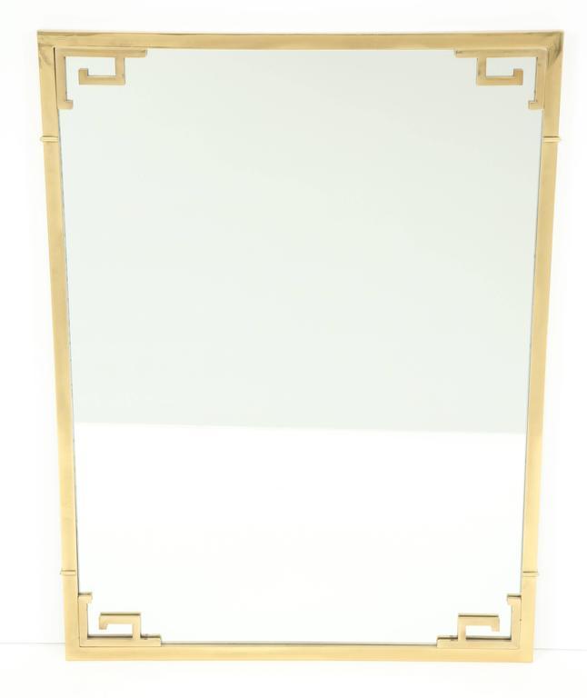 Large Italian Mid-Century Modern Greek Key Brass Wall Mirror 2