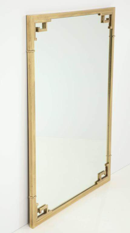 Large Italian Mid-Century Modern Greek Key Brass Wall Mirror In Excellent Condition For Sale In New York, NY