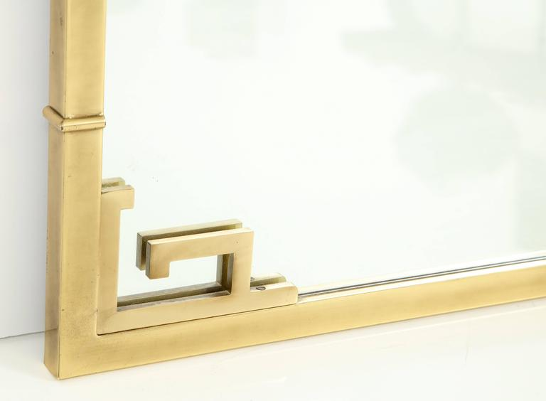 20th Century Large Italian Mid-Century Modern Greek Key Brass Wall Mirror For Sale