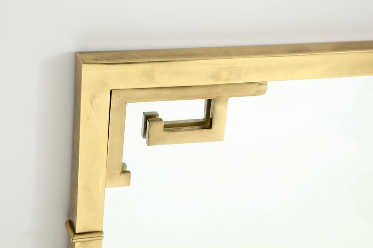 Large Italian Mid-Century Modern Greek Key Brass Wall Mirror For Sale 2
