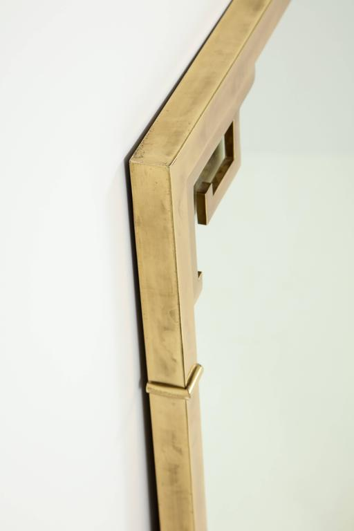 Large Italian Mid-Century Modern Greek Key Brass Wall Mirror For Sale 3
