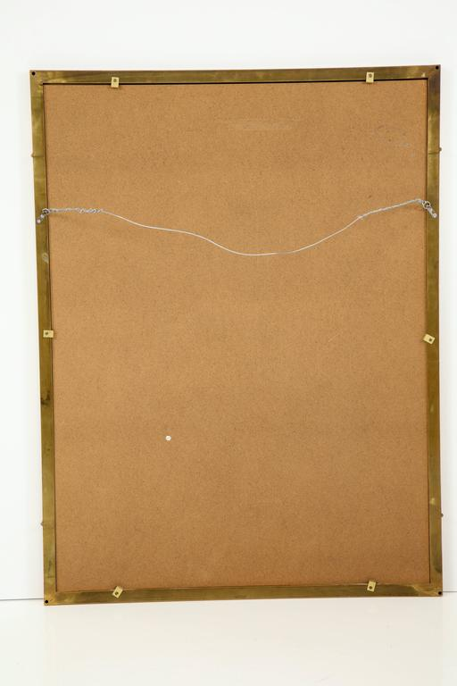 Large Italian Mid-Century Modern Greek Key Brass Wall Mirror 8