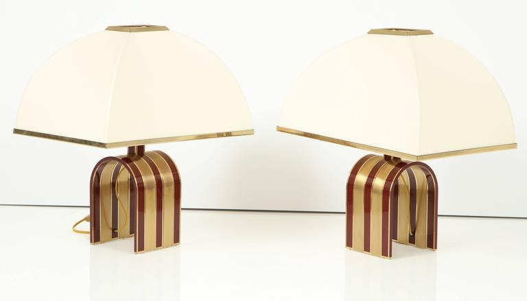 Mid-Century Modern Pair of Italian Red and Brass Lamps Attributed to Romeo Rega 4