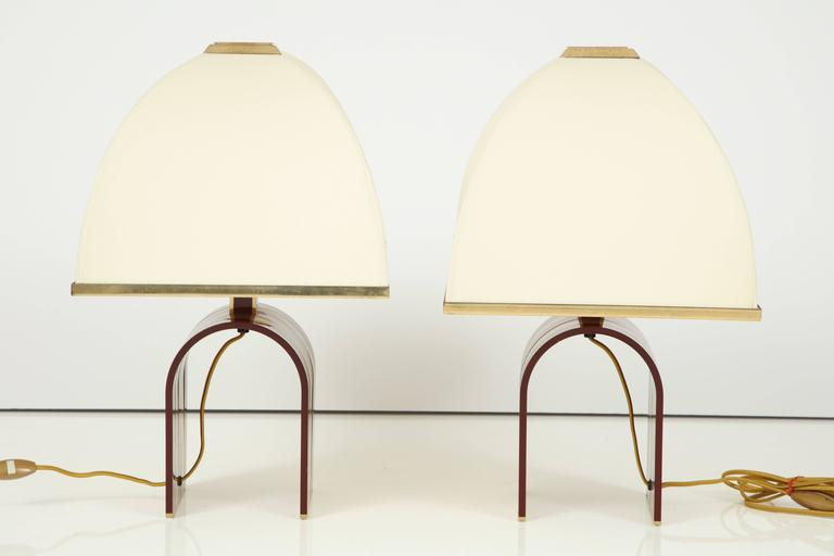 Mid-Century Modern Pair of Italian Red and Brass Lamps Attributed to Romeo Rega 5