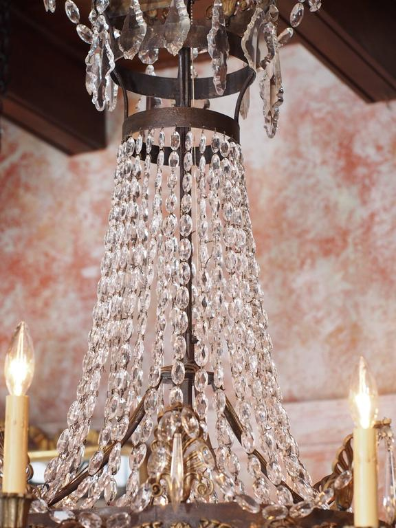 Antique French Empire Crystal and Bronze Eight-Light Chandelier 3