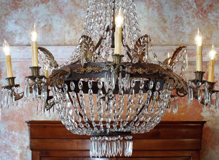 Antique French Empire Crystal and Bronze Eight-Light Chandelier 4