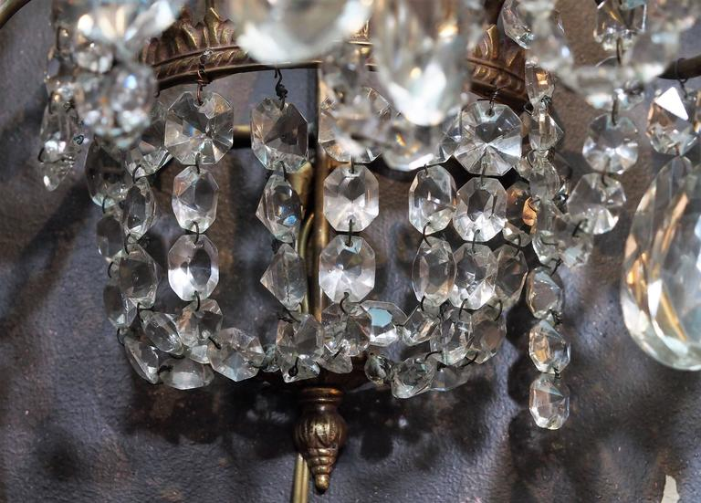 Pair of Antique French Crystal Three-Light Wall Sconces 4
