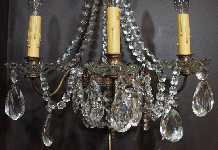 Pair of Antique French Crystal Three-Light Wall Sconces 5
