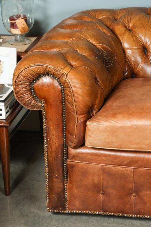 1960s Leather Chesterfield Sofa 2