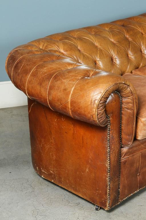 1960s Leather Chesterfield Sofa 6