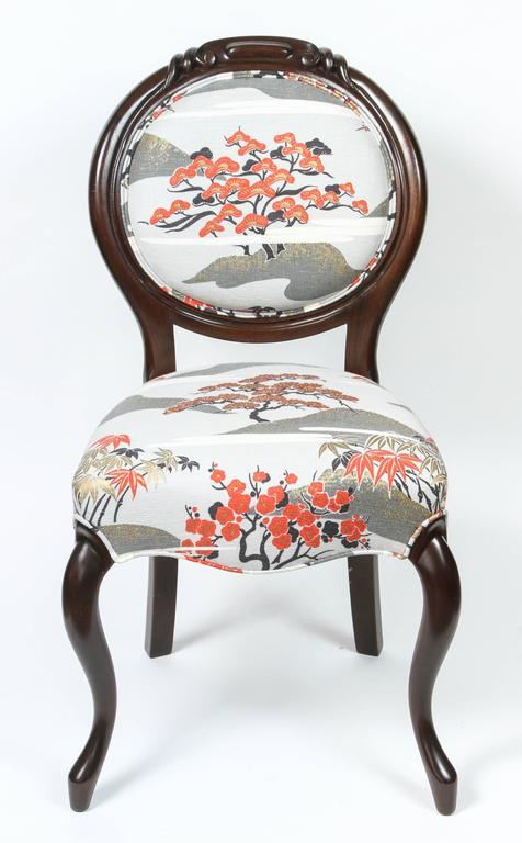 Newly Refinished Victorian Side Chair In Japanese Motif In Excellent  Condition For Sale In Pasadena,