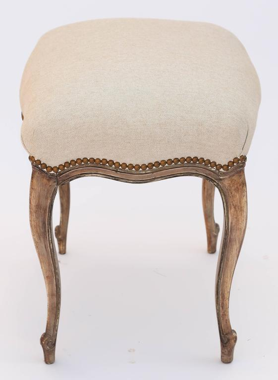 French Louis Xv Painted Stool With Crown Seat Of Linen At