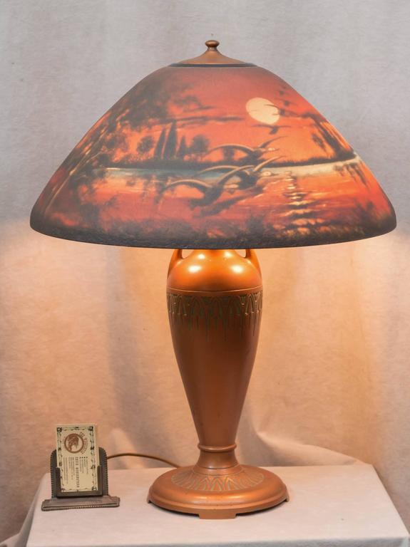 Reverse Painted Table Lamp, Moe Bridges Co. Geese Flying ...