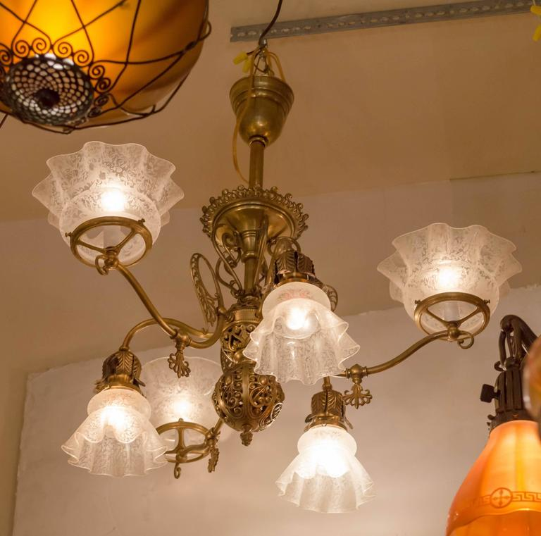 19th Century Late Victorian Six Arm Gas And Electric Combination Chandelier For