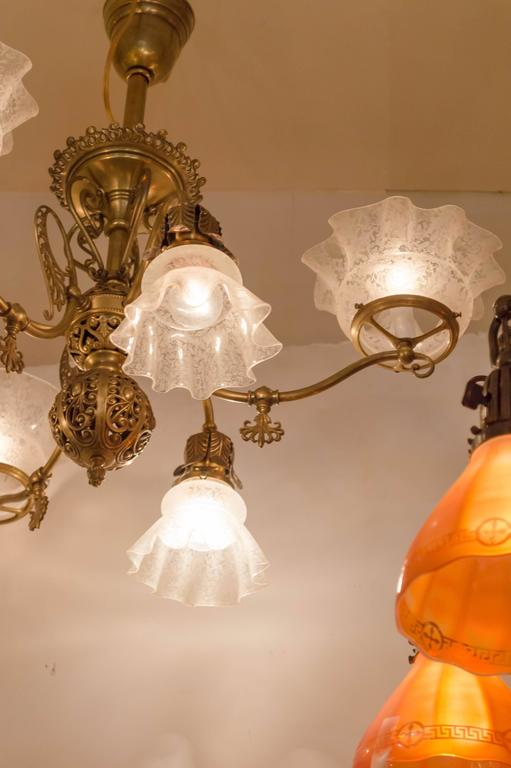 Late Victorian Six Arm Gas And Electric Combination Chandelier For 1