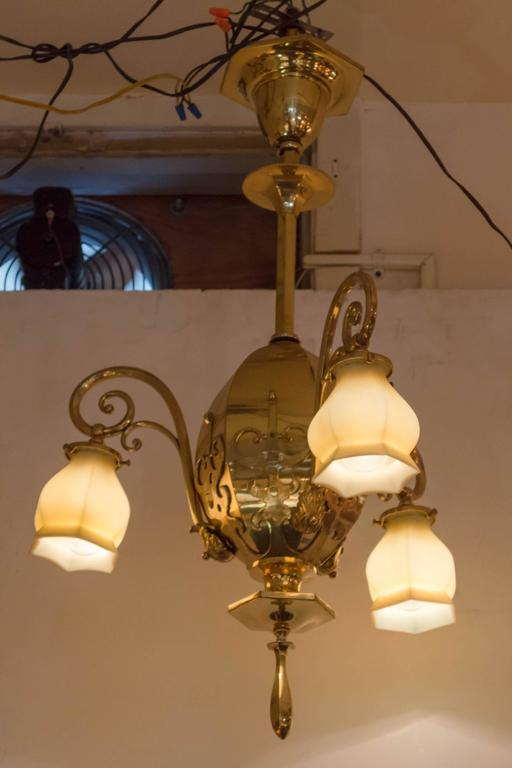 American Late Victorian Three-Arm Chandelier with Original Vaseline Glass Shades For Sale
