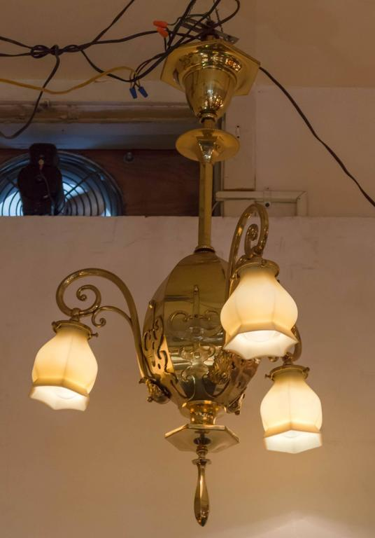 Hand-Crafted Late Victorian Three-Arm Chandelier with Original Vaseline Glass Shades For Sale