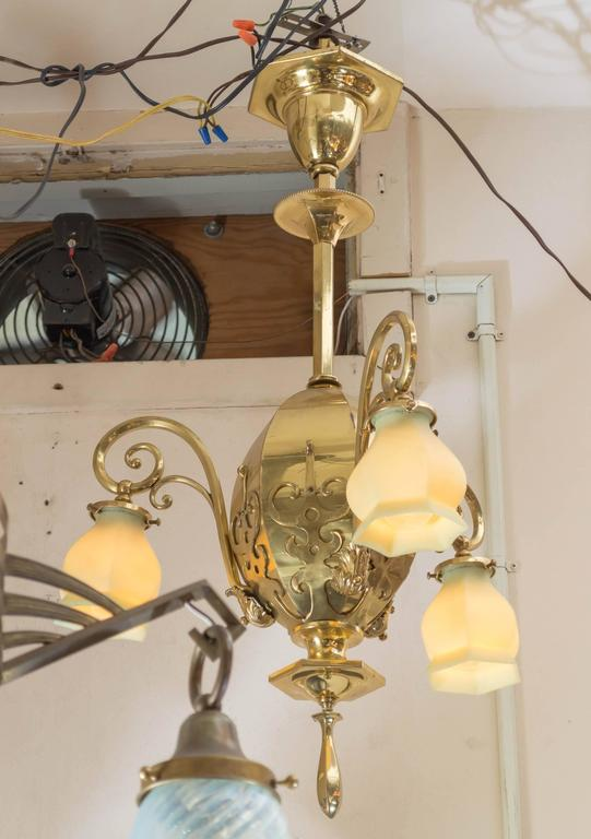 Late Victorian Three-Arm Chandelier with Original Vaseline Glass Shades In Excellent Condition For Sale In San Francisco, CA