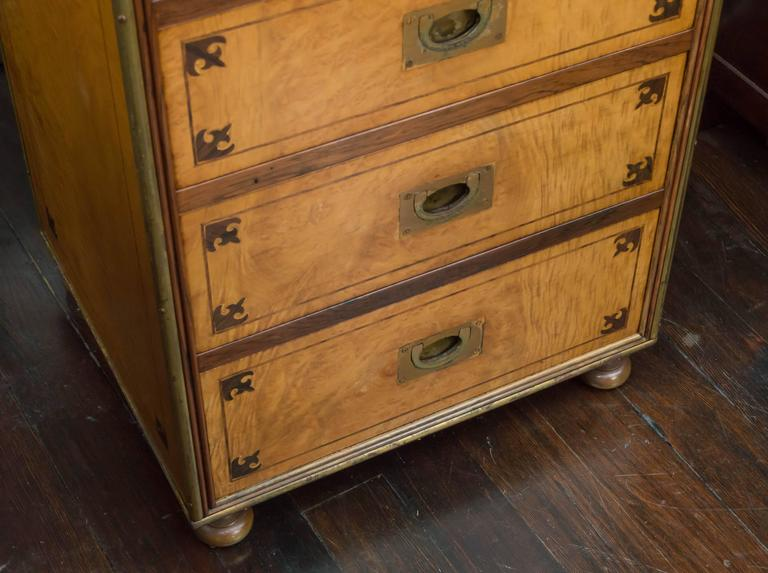 Inlay Satin Figured Birchwood Campaign Style Chest of Seven Drawers For Sale