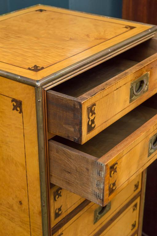 Satin Figured Birchwood Campaign Style Chest of Seven Drawers In Good Condition For Sale In San Francisco, CA