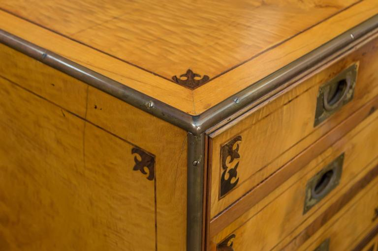 20th Century Satin Figured Birchwood Campaign Style Chest of Seven Drawers For Sale