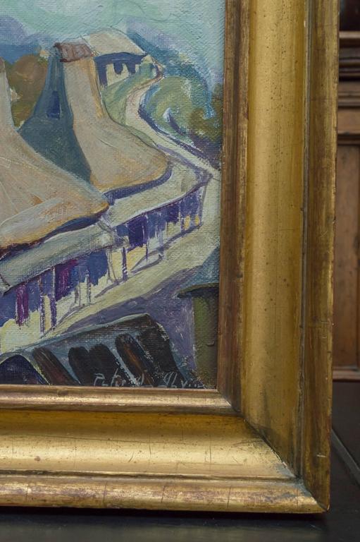 Art Deco Oil on Board Roof Top Landscape by Peter Ilyin For Sale