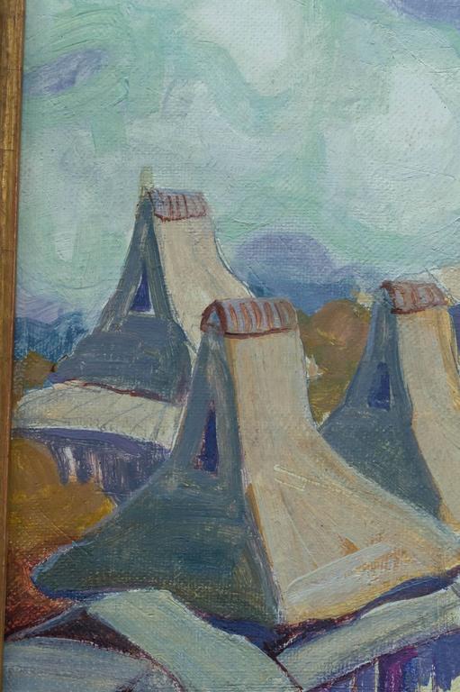 American Oil on Board Roof Top Landscape by Peter Ilyin For Sale