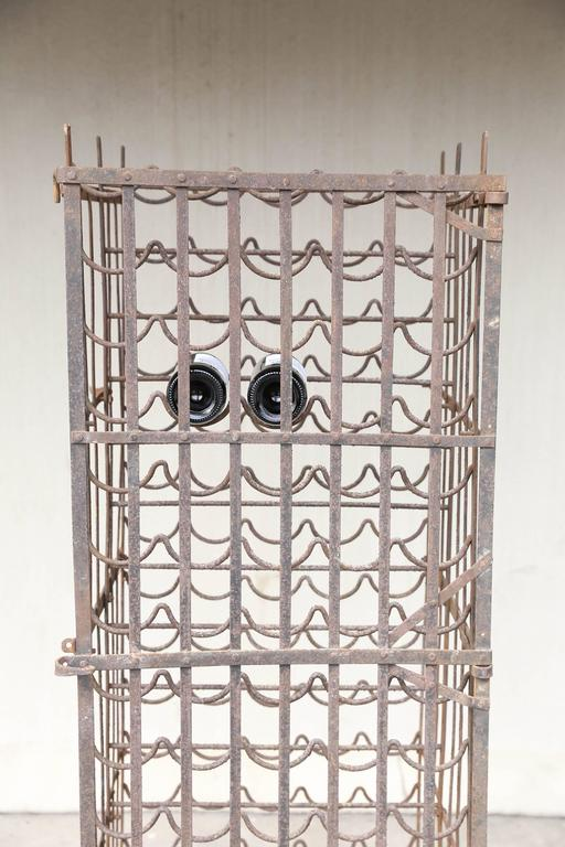 Antique French Standing Iron Wine Rack With Lockable