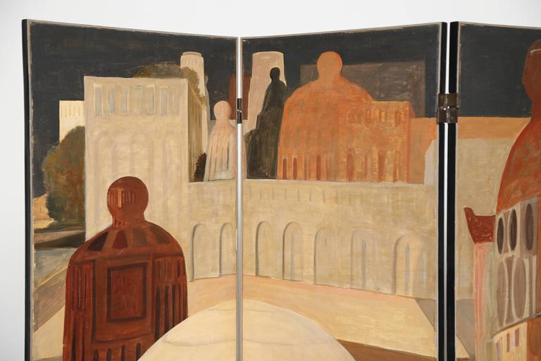 Rare Salvador Fiume Surrealist four-panel screen Signed and dated.
