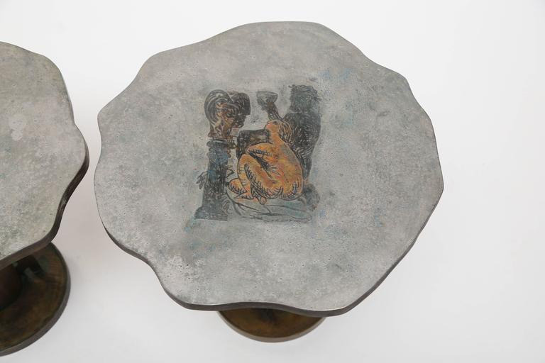 Mid-20th Century Philip and Kelvin LaVerne Apres Picasso Side Tables For Sale