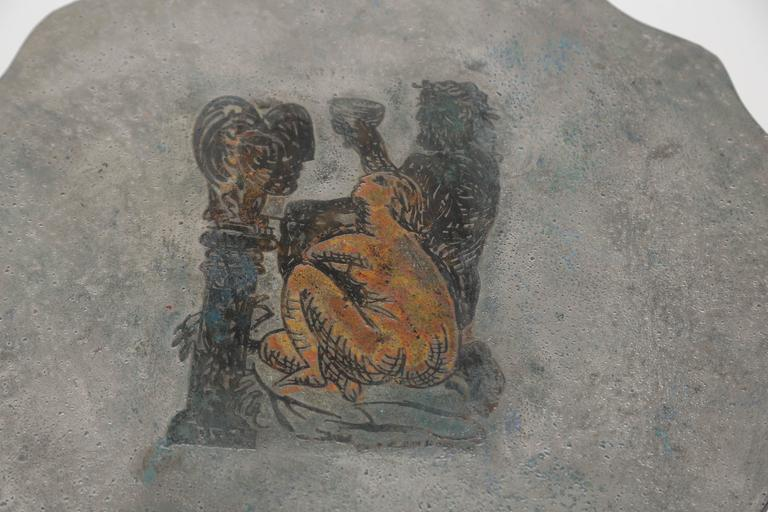 Enameled Philip and Kelvin LaVerne Apres Picasso Side Tables For Sale