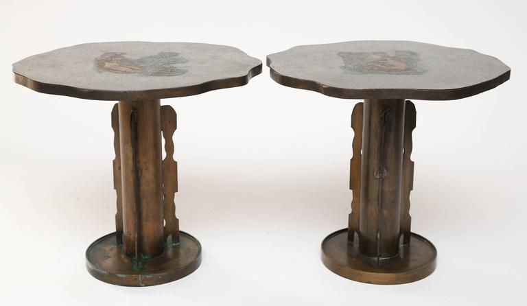 Philip and Kelvin LaVerne Apres Picasso Side Tables For Sale 2