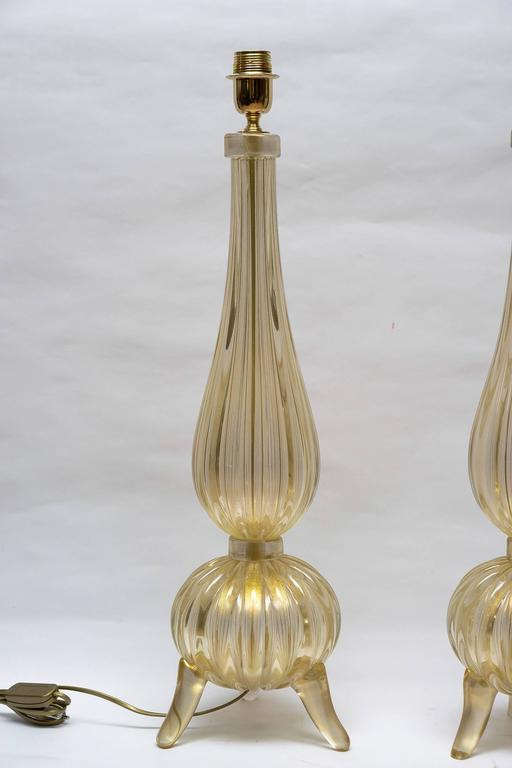 "Pair of Table Lamps in Murano Glass Signed ""Toso Murano"" 2"