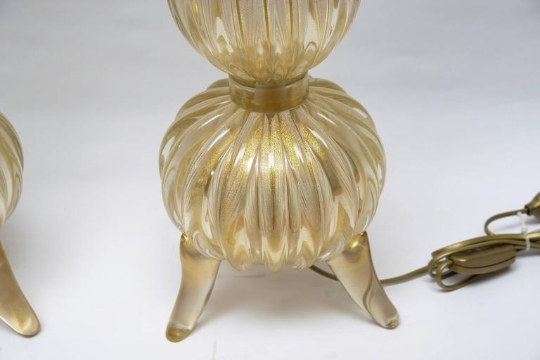 "Pair of Table Lamps in Murano Glass Signed ""Toso Murano"" 6"