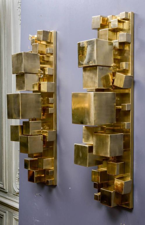 Pair of Brass Sconces In Excellent Condition In Saint-Ouen (PARIS), FR
