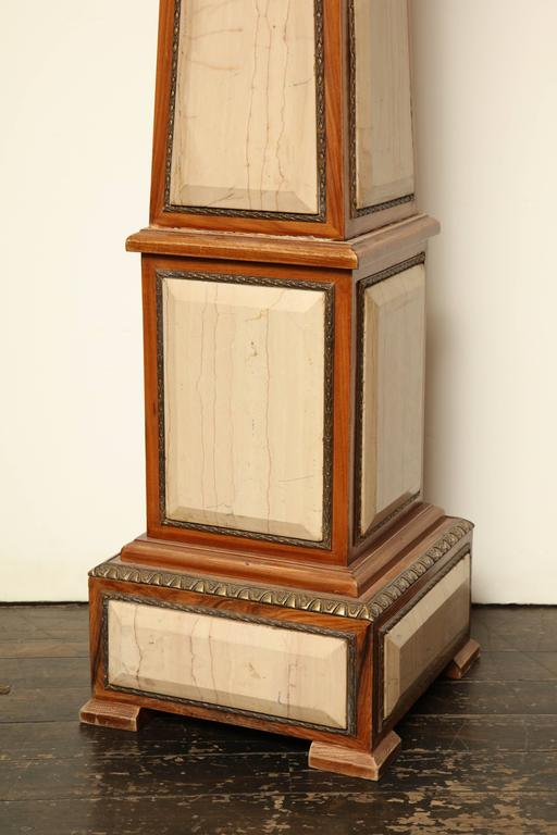 American Pair of 1920s Style Columns in Oak with Marble and Bronze For Sale